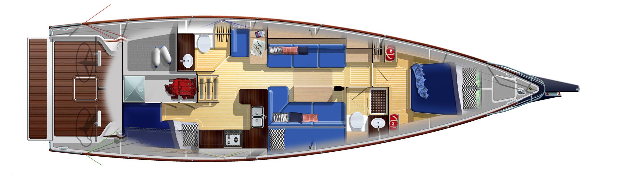 LM46 Aft Cabin Plus Second Head Arrangement