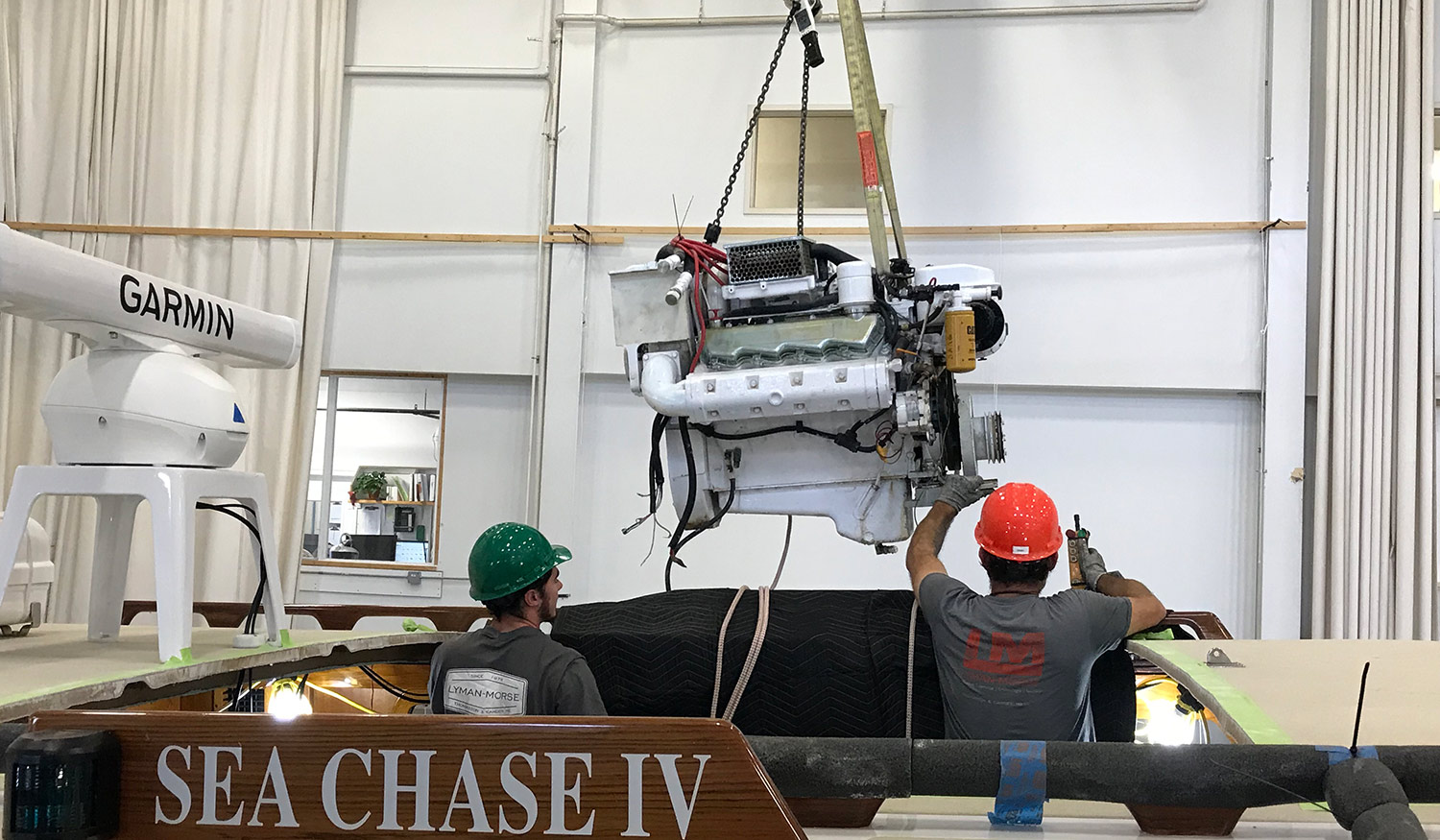 New engine installation in Sea Chase IV at Lyman-Morse