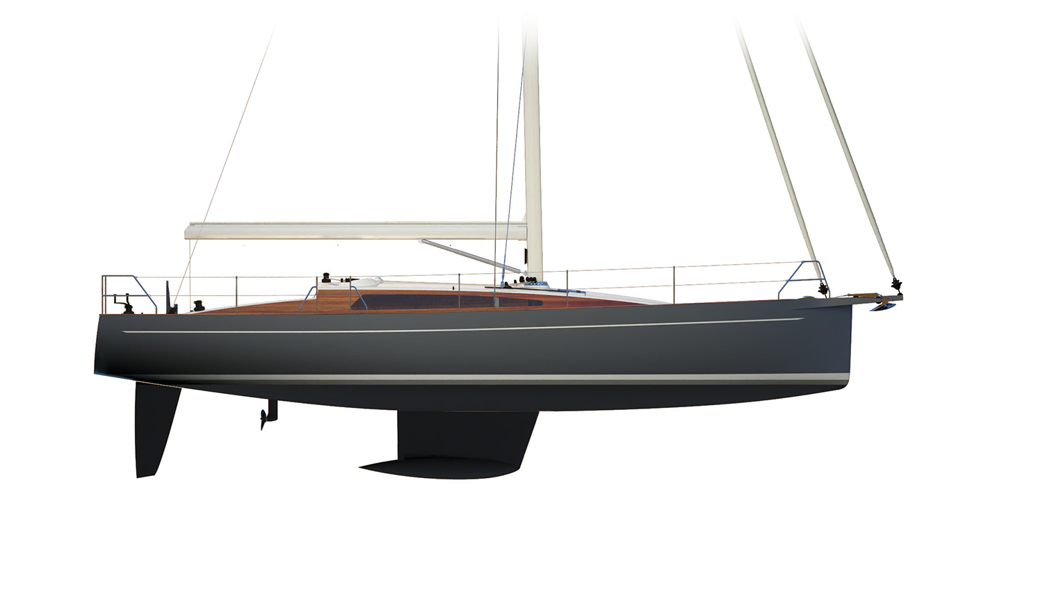 LM46 Hull No. 1 profile with keel, rudder, and Saildrive